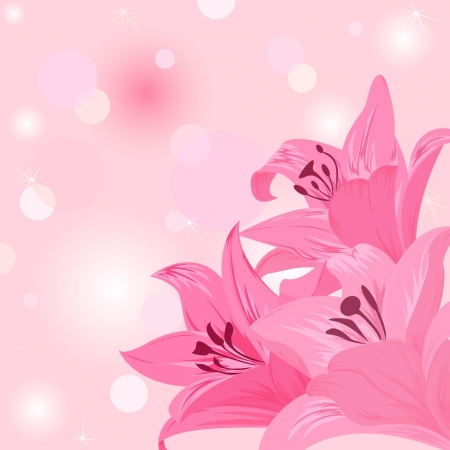 Painting lilies on the pink  background