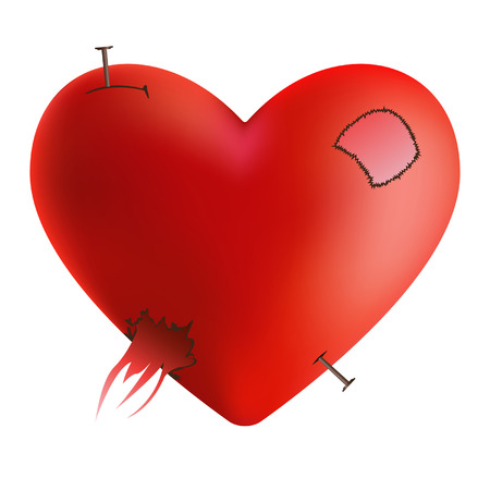 Crashed heart with sewn thread 일러스트