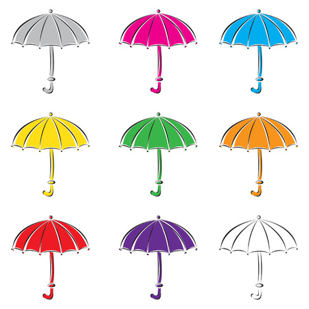 Set of colored umbrellas