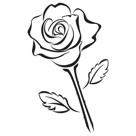Black silhouette of rose flower