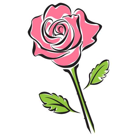 Black silhouette of pink rose flower