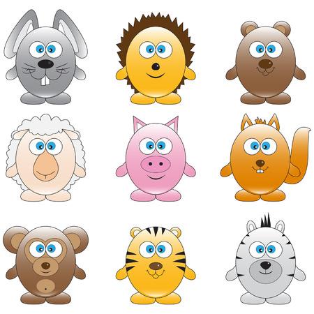Set of different funny cartoon animals Illustration