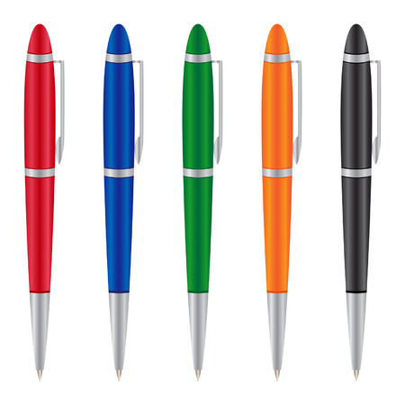 Isolated pens icons on the white background