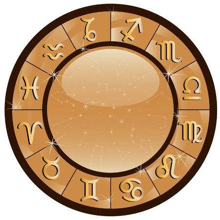 Gold zodiacal circle with zodiac signs 일러스트