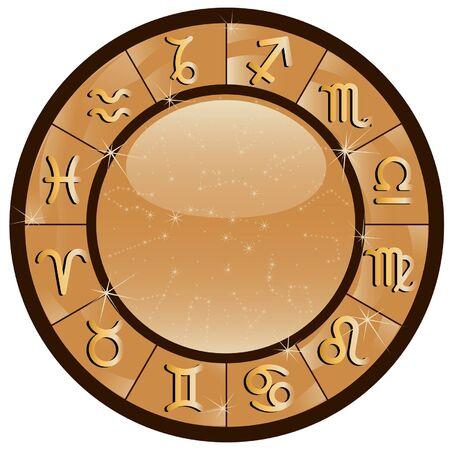 signes du zodiaque: cercle zodiacale or avec les signes du zodiaque Illustration