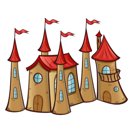 Fairy-tale castle with red roofs Illustration