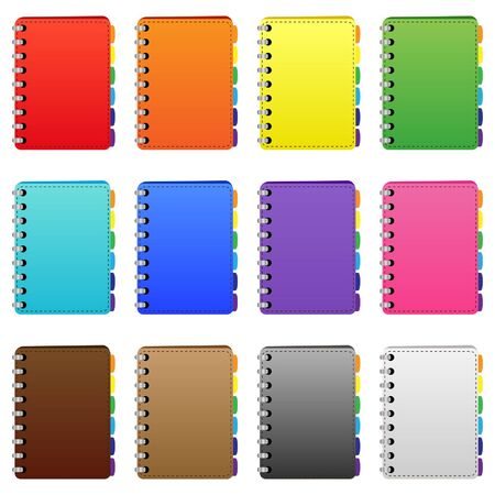 Set of coloured diarys Illustration