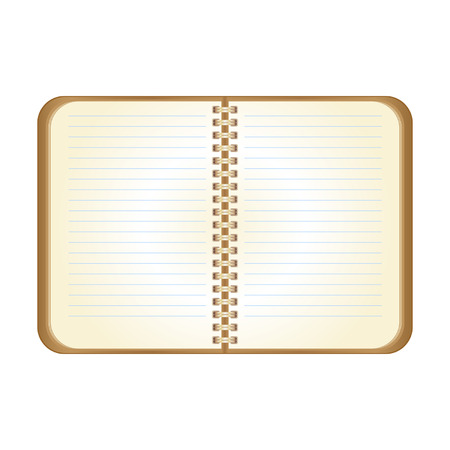 datebook: Open brown notepad for notes and remarks