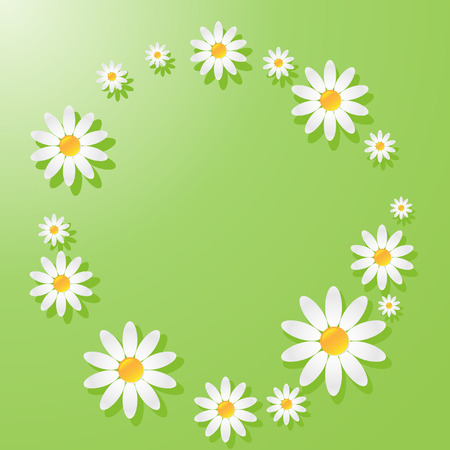 Green pattern with white daisies 일러스트