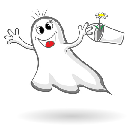 Funny ghost with bucket and flower 일러스트