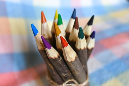 sharpened: The set of sharpened colored pencils Stock Photo