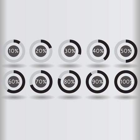 80 90: icons pie graph circle percentage black chart 10 20 30 40 50 60 70 80 90 100 % set illustration round Illustration
