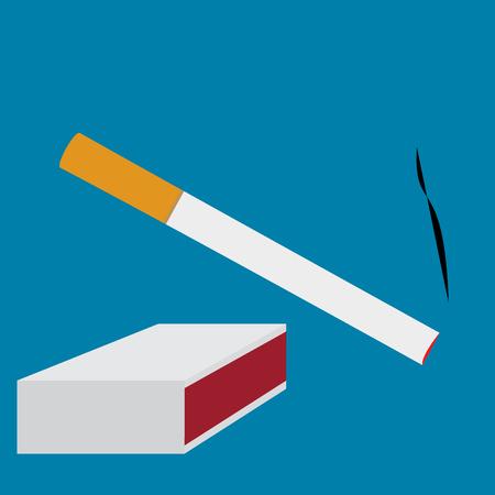 toxic product: cigarette smoke and matchbox set  illustration Illustration