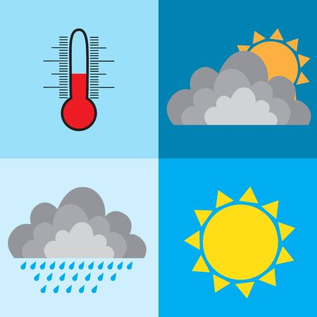weather design sun rain cloud thermometer illustration