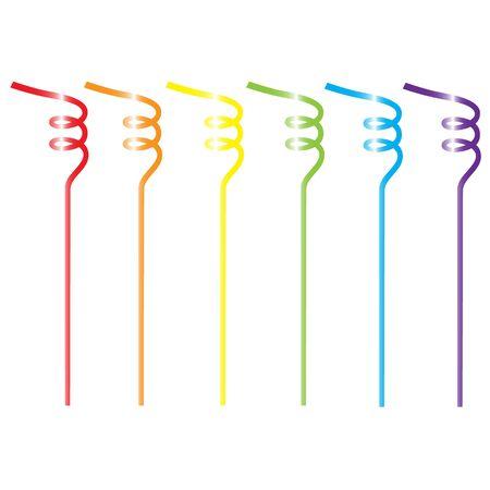 twisted: rainbow set of cocktail straws isolated vector illustration Illustration