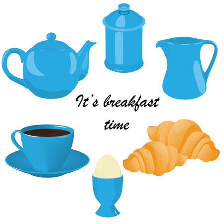 its breakfast time tea coffee porcelain blue set vector illustration