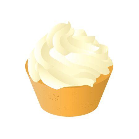 vanilla cupcake: sweet tasty creamy vanilla cupcake isolated vector illustration