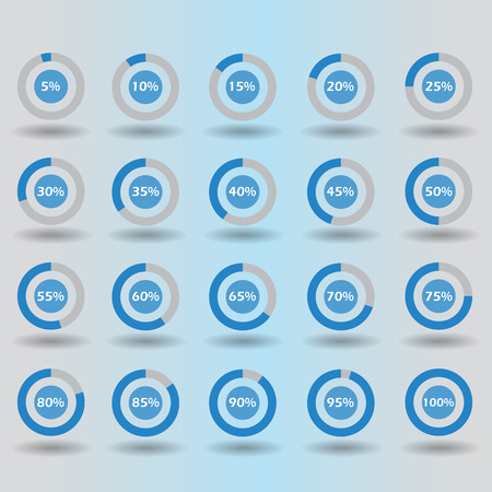 85 90: icons template pie graph circle percentage blue chart 5 10 15 20 25 30 35 40 45 50 55 60 65 70 75 80 85 90 95 100 % set illustration round vector