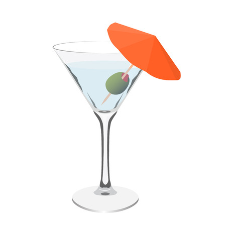 vermouth: transparent martini glass cocktail realistic isolated vector illustration Illustration