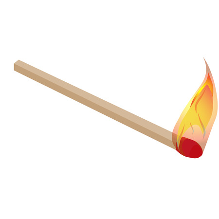 pyromania: burning match with flame vector illustration Illustration