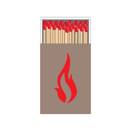 matchbox: full matchbox craft with flame with matches vector illustration