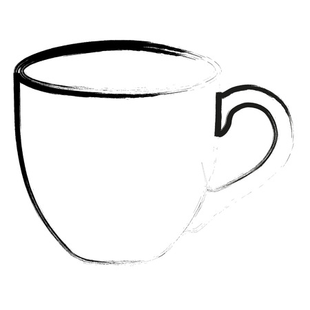 Silhouette outline Cup of black coffee isolated on white. Vector illustration  イラスト・ベクター素材