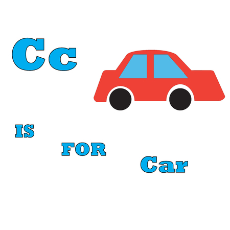 C is for car abstract  illustration for ABC vector Illustration