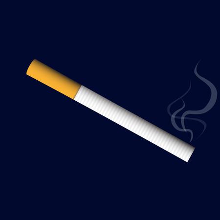 smolder: isolated classical cigarette realistic smoke vector illustration