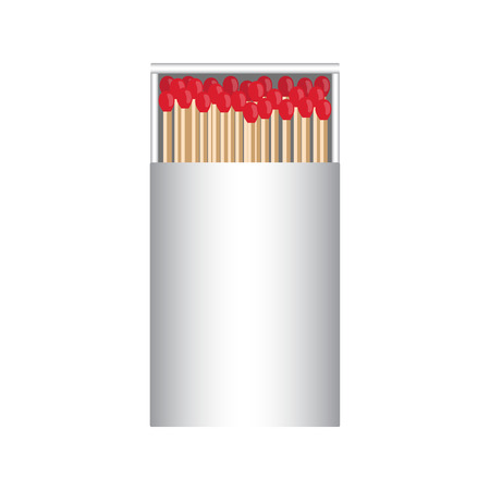 smoke stack: full matchbox white with matches vector illustration