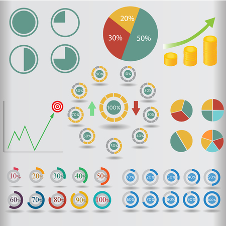 percent sign: Business infographic data market elements dot bar pie charts diagrams and graphs flat icons set vector illustration