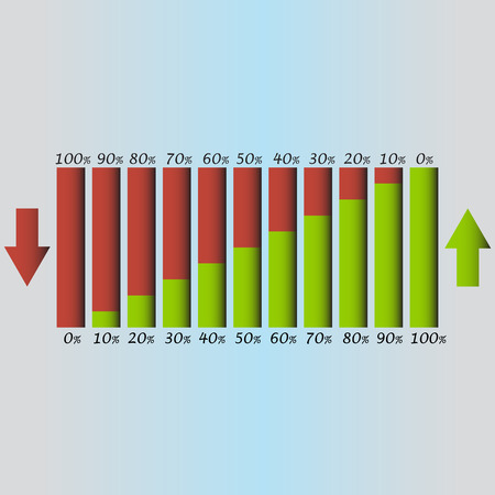 decrease: Infographic design template. Column graph.  Growth and decrease 0-100 % vector illustration