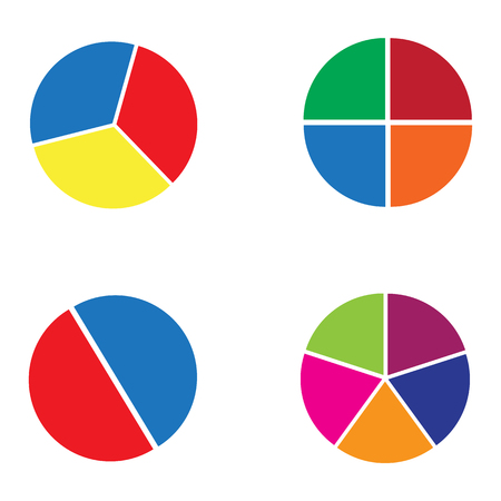 Graph circle set. Cirkeldiagram. 4 cirkelgrafiekenillustratie om vector