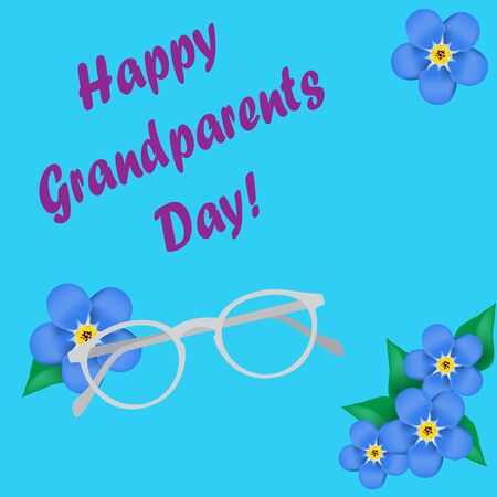 forget me not: Grandparents Day, greeting card. Forget me not. Glasses. Blue font. Vector illustration