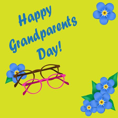 forget me not: Grandparents Day, greeting card. Forget me not.  Glasses. Yellow font. Vector illustration