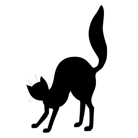 Black cat silhouette. Halloween design element. Vector illustration