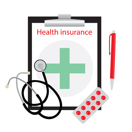 green cross: Health care insurance medical form with green cross. Clipboard with phonendoscope isolated on white background. Vector illustration