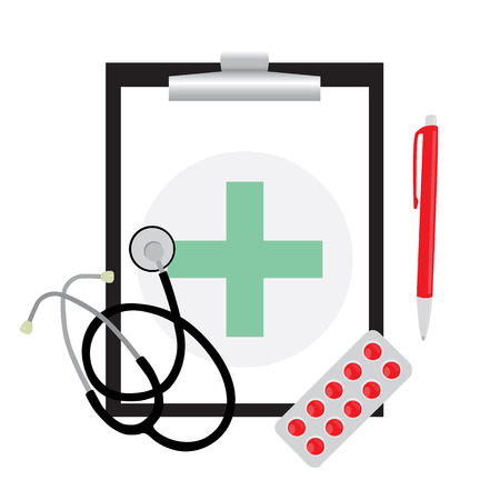 green cross: Clear medical form with green cross. Clipboard with phonendoscope isolated on white background. Vector illustration Illustration