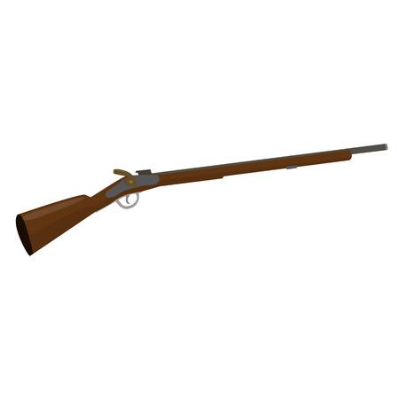 vintage rifle: flintlock muzzle loader musket. Old fashioned rifle vintage musket gun. Vector illustration