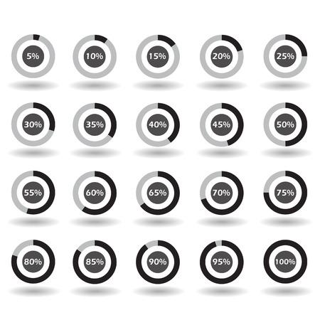 icons template pie graph circle percentage black chart 5 10 15 20 25 30 35 40 45 50 55 60 65 70 75 80 85 90 95 100 % set illustration round vector Stock Illustratie