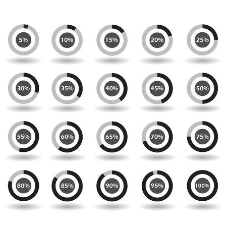icons template pie graph circle percentage black chart 5 10 15 20 25 30 35 40 45 50 55 60 65 70 75 80 85 90 95 100 % set illustration round vector Ilustrace