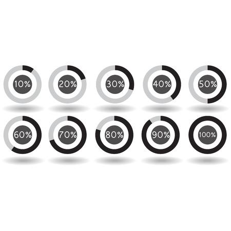 70 80: icons pie graph circle percentage black chart 10 20 30 40 50 60 70 80 90 100 % set illustration round vector Illustration