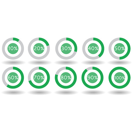 70 80: icons pie graph circle percentage green chart 10 20 30 40 50 60 70 80 90 100 % set illustration round vector