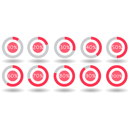70 80: icons pie graph circle percentage red chart 10 20 30 40 50 60 70 80 90 100 % set illustration round vector