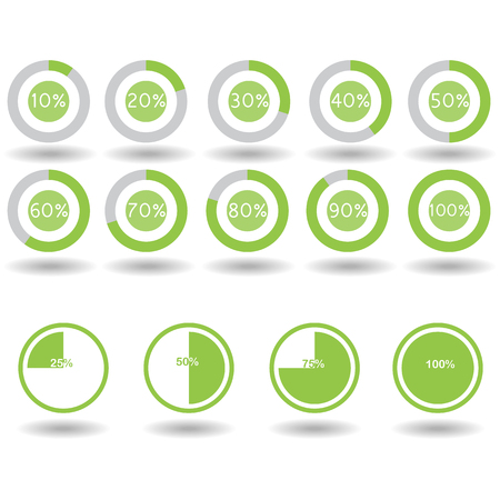 70 75: icons pie graph circle percentage green chart 10 20 25 30 40 50 60 70 75 80 90 100 % set illustration round vector