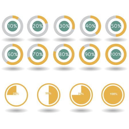 20 25: icons pie graph circle percentage yellow chart 10 20 25 30 40 50 60 70 75 80 90 100 % set illustration round vector