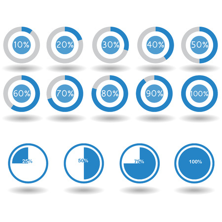25 30: icons pie graph circle percentage blue chart 10 20 25 30 40 50 60 70 75 80 90 100 % set illustration round vector