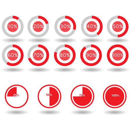 75 80: icons pie graph circle percentage red chart 10 20 25 30 40 50 60 70 75 80 90 100 % set illustration round vector Illustration