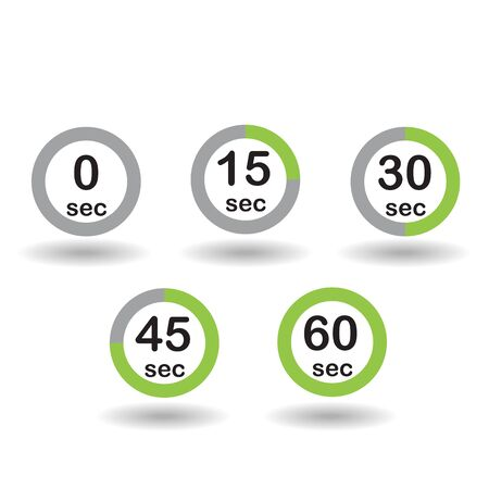 sec: Time, clock, stopwatch, timer progress circles set 0 15 30 45 60 sec green sport rings vector illustration Illustration