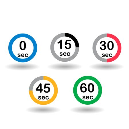 sec: Time, clock, stopwatch, timer progress circles set 0 15 30 45 60 sec rainbow sport rings vector illustration Illustration