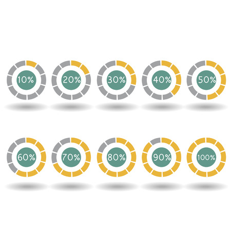 70 80: icons pie graph circle percentage yellow chart 10 20 30 40 50 60 70 80 90 100 % set illustration round vector